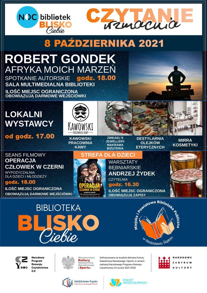 plakat - Noc Bibliotek w Wodzisławiu Śląskim