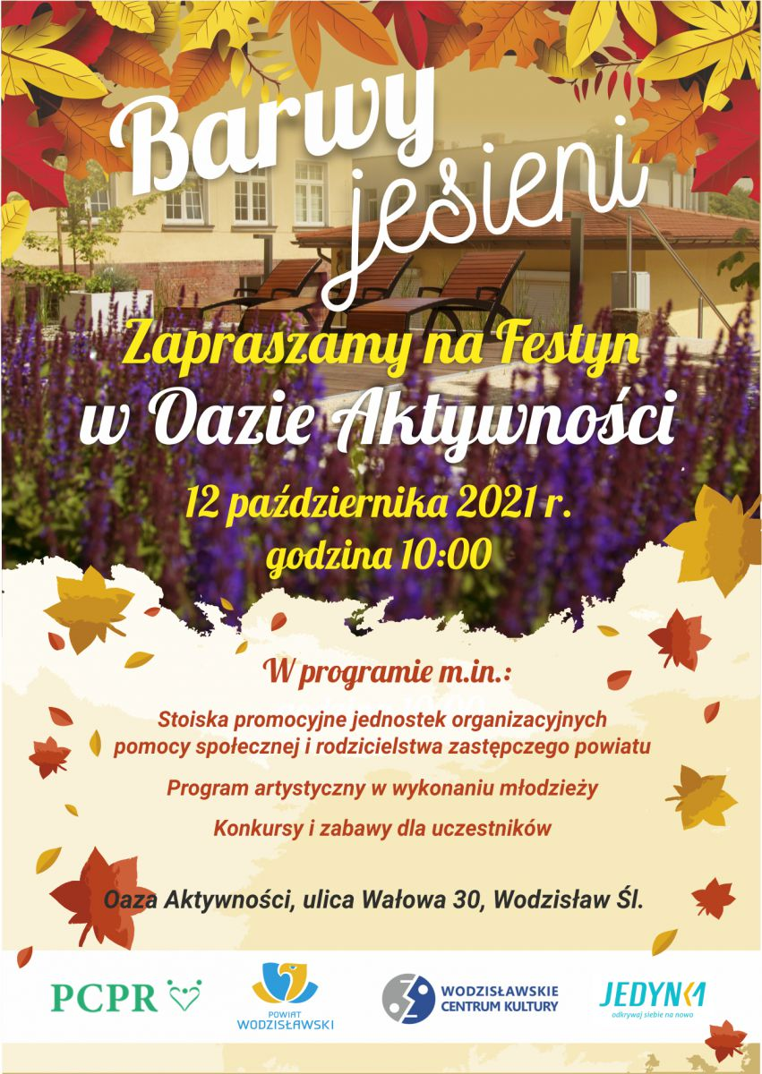 Plakat promujący festyn Barwy Jesieni w Oazie Aktywności, opis alternataywny w treści posta