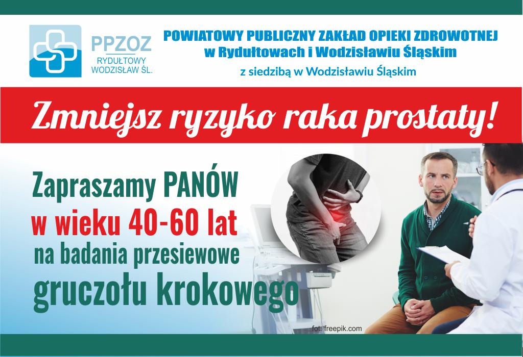 Baner promujący akcję badań profilaktycznych prostaty w PPZOZ