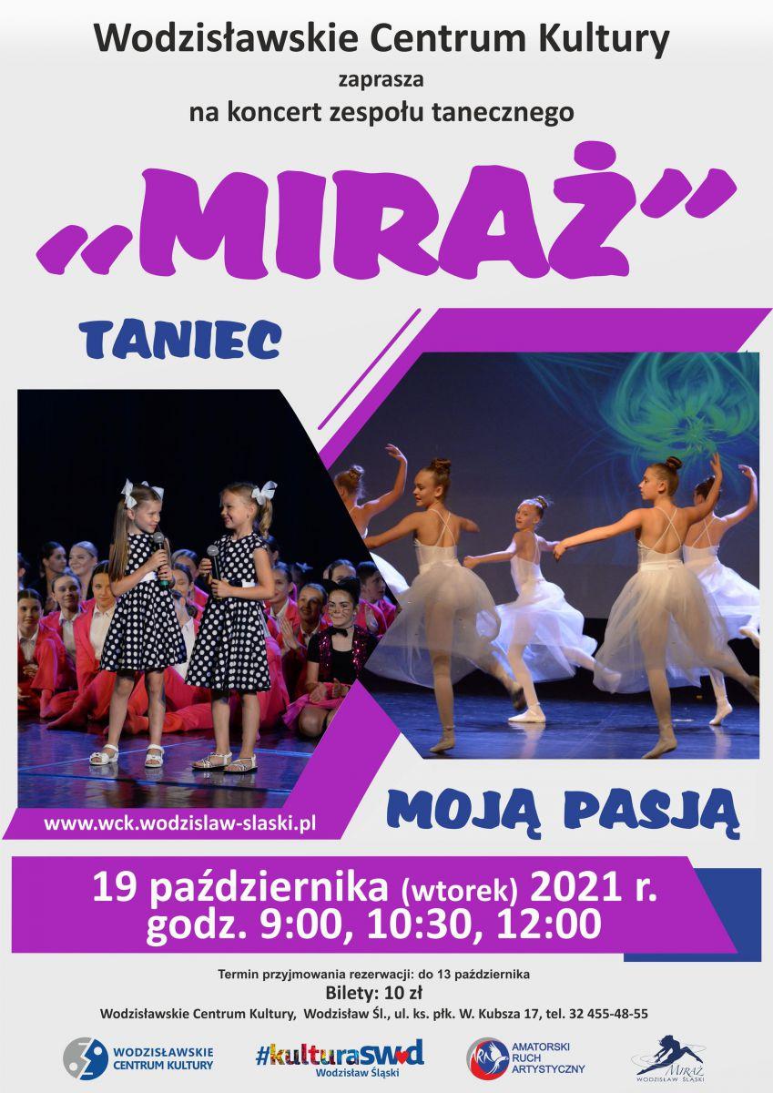 plakat - widowisko: Miraż zatańczy dla przedszkolaków i uczniów