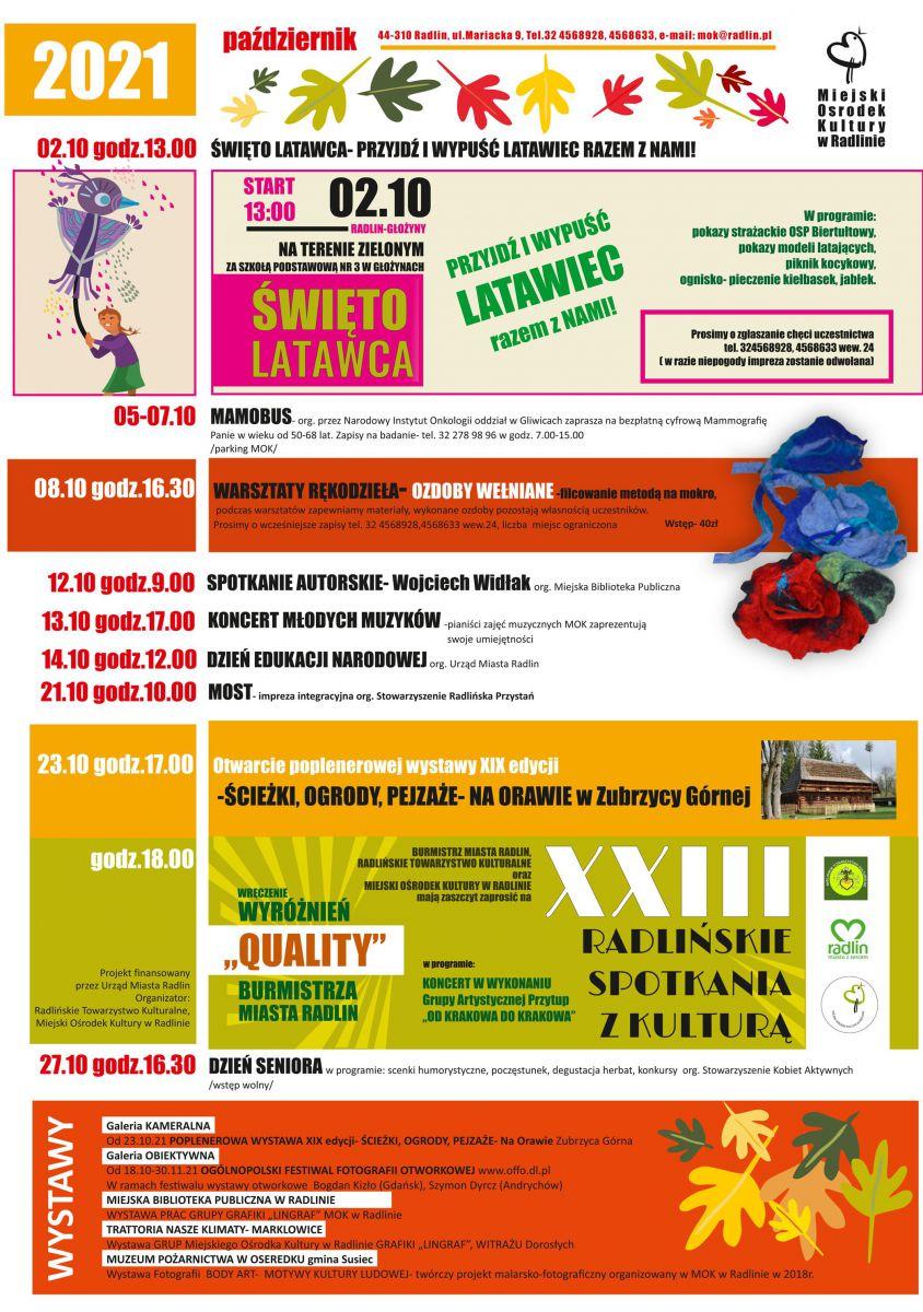 plakat - październikowe imprezy w Radlinie