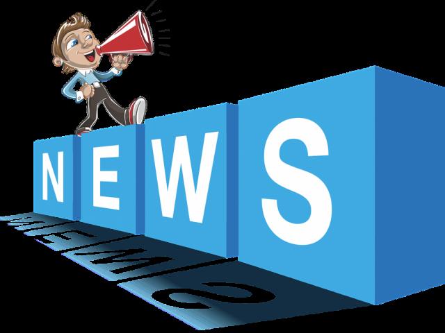grafika ilustrująca hasło news zawiera cztery litery news oraz symbol megafonu