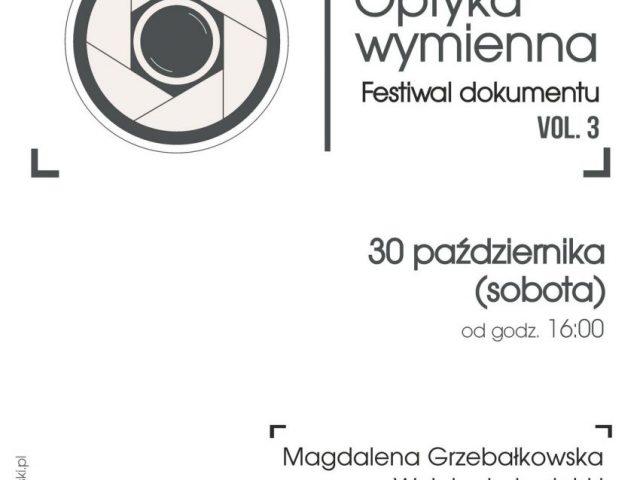 """PLAKAT - festiwal dokumentu """"Optyka wymienna"""", tekst i grafika na białym tle"""
